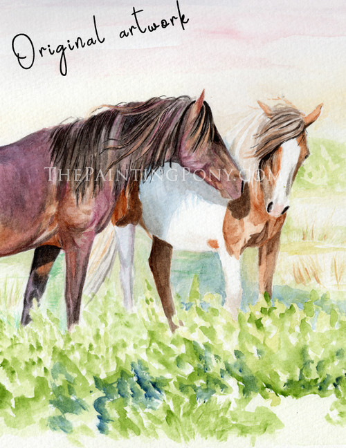 Wild Chicoteague Ponies on the Beach Watercolor Painting