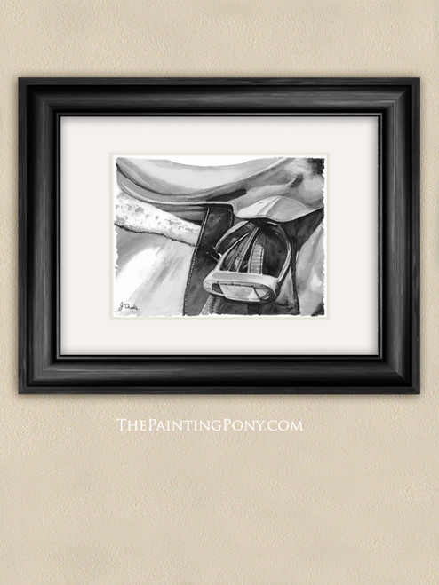 Black and White Watercolor Egnlish Horse Saddle Art Print