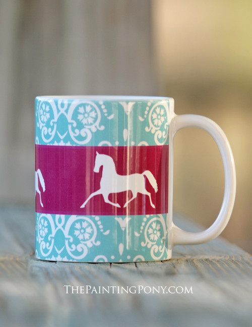 Elegant Damask Pattern with Trotting Horse Equestrian Coffee Mug