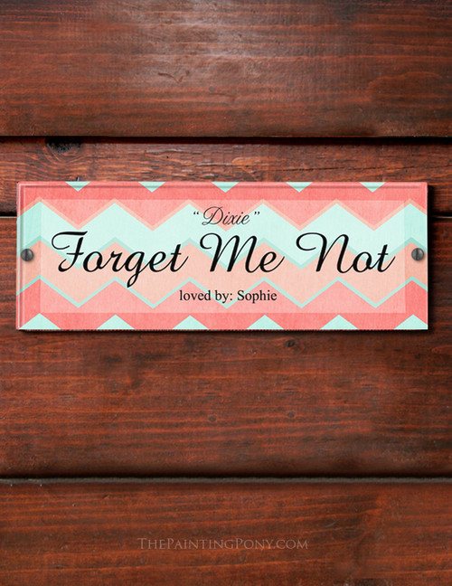 Mint and coral pink chevron pattern horse stall name plate