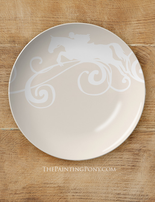 """Jumping Horse 10"""" Equestrian Plate"""