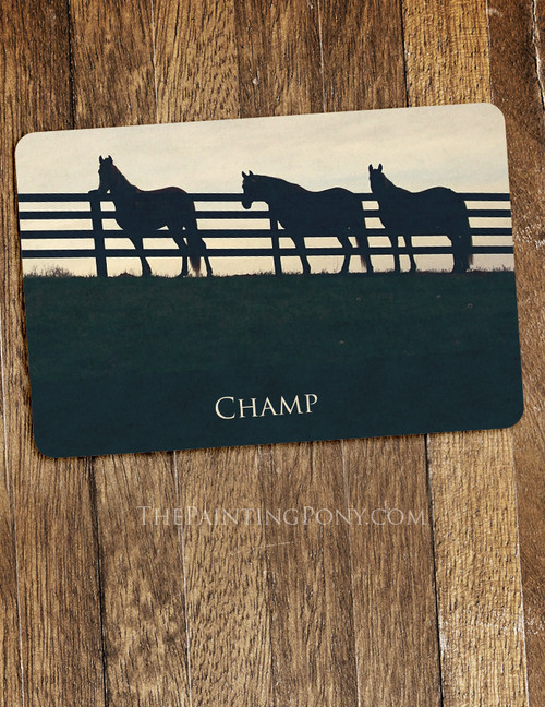 Country Horses at the Fence Equestrian Themed Pet Food Mat