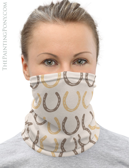 Fun Horse Shoes Pattern Equestrian Neck Gaiter