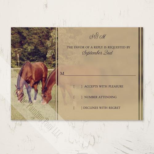 Country Horses Wedding RSVP card (10 pk)