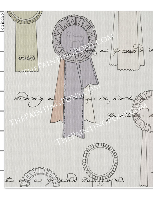Vintage Horse Show Ribbons Equestrian Fabric by the Yard