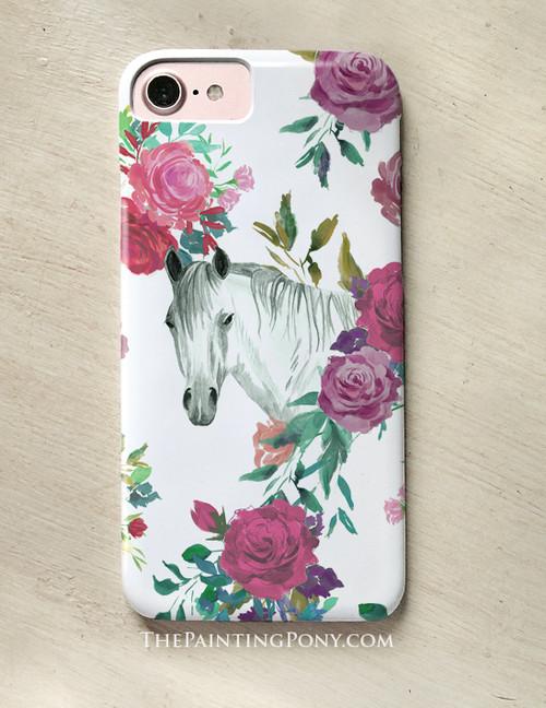Floral Horse Head Equestrian Pattern Phone Case