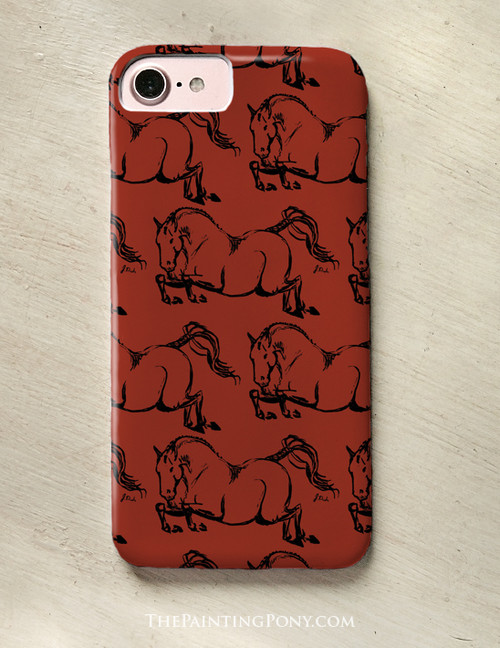 Jumping Horse Pattern Equestrian Phone Case