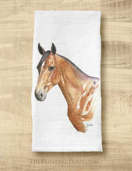 Bay Horse Head Equestrian Tea Towel