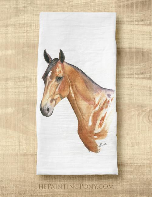 Bay Horse Head Equestrian Tea Towel