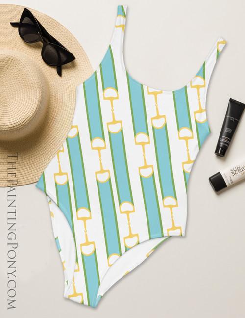 Striped Ribbon Bits Equestrian Swim Suit