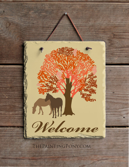 Autumn Horse Lover Welcome Slate Wall Sign
