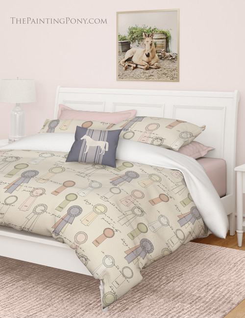 Horse Show Ribbons Pattern Equestrian Bedding Set