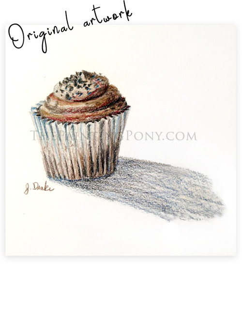Original Colored Pencil Cupcake Sketch