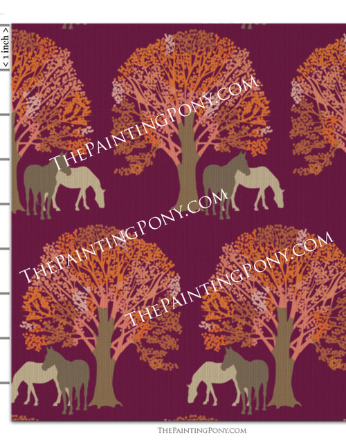 Autumn Horse Patterned Fabric by the Yard
