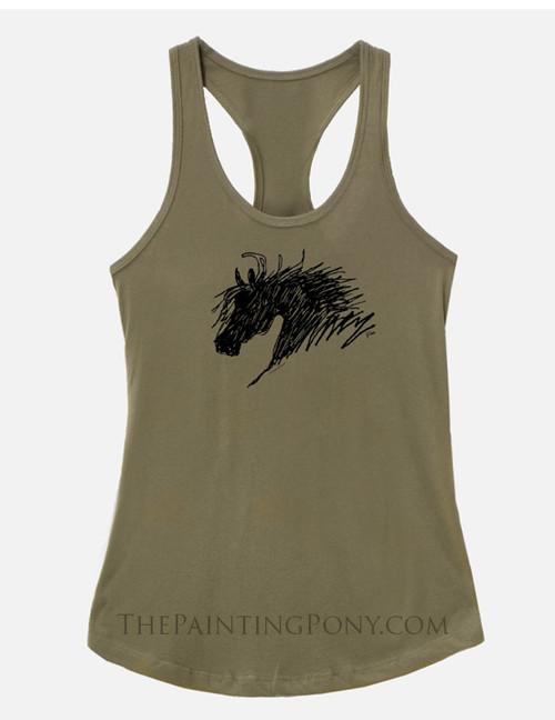 Abstract Horse Head Equestrian Racerback Tank Top
