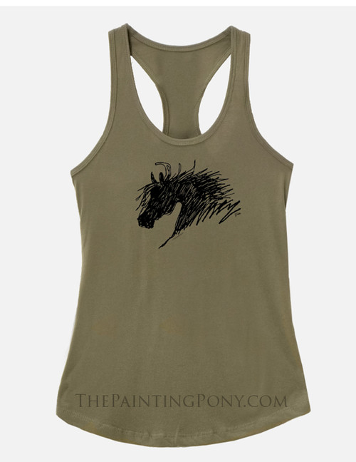 Abstract Horse Head Equestrian Racerback Tank Top