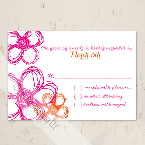 Abstract Wild Flowers Wedding RSVP card (10 pk)