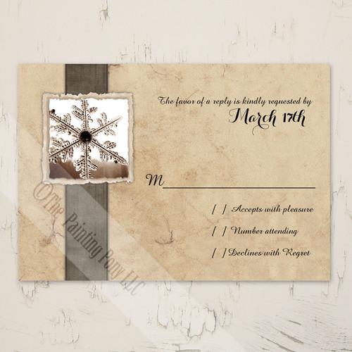 Rustic Snowflake Wedding RSVP card (10 pk)