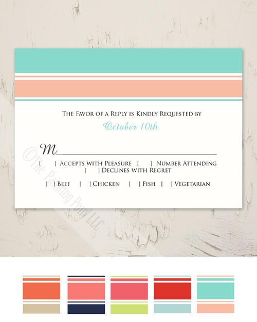 Modern Stripes Wedding RSVP card (10 pk)
