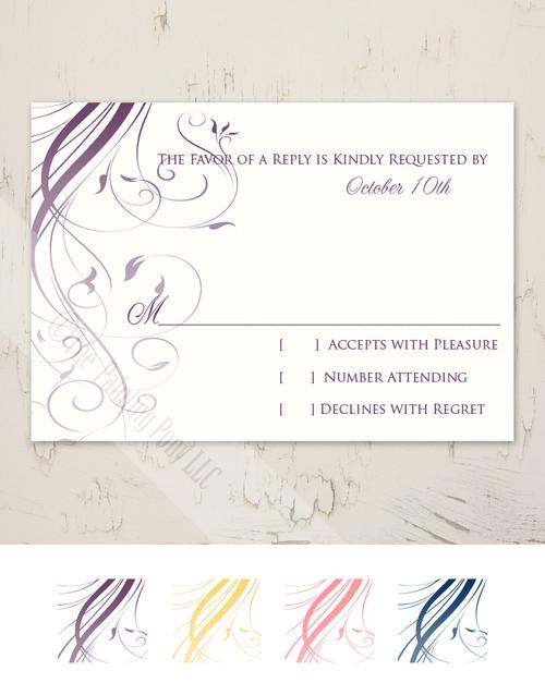 Ombre Flourish Wedding RSVP card (10 pk)