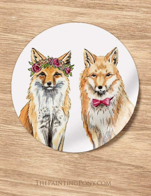 Bohemian Foxes Wedding Favor Stickers (12 count)