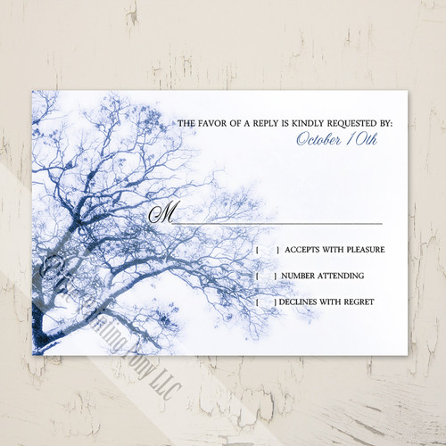Winter Tree Wedding RSVP card (10 pk)