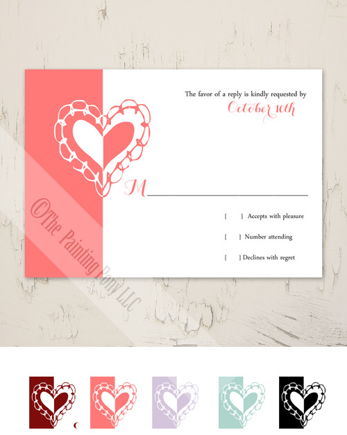 Whimsical Heart Wedding RSVP card (10 pk)