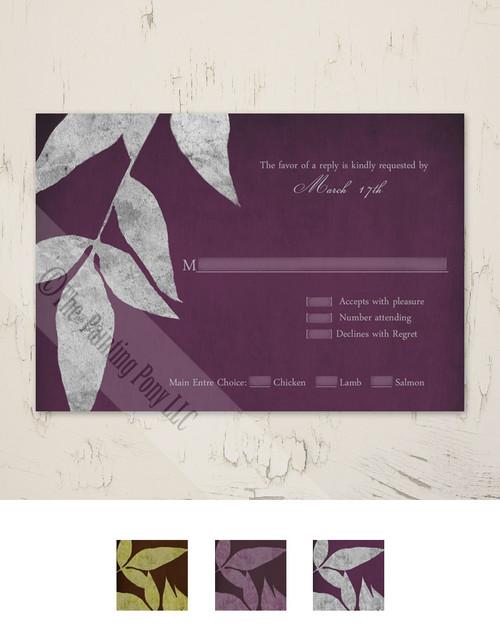 Distressed Fall Leaves Wedding RSVP card (10 pk)