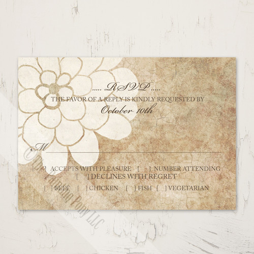 Ivory and White Dahlia Floral Wedding RSVP card (10 pk)