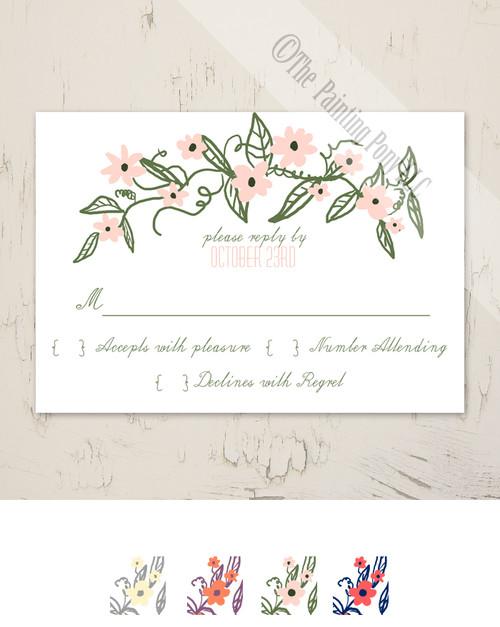 Floral Banner Wedding RSVP card (10 pk)