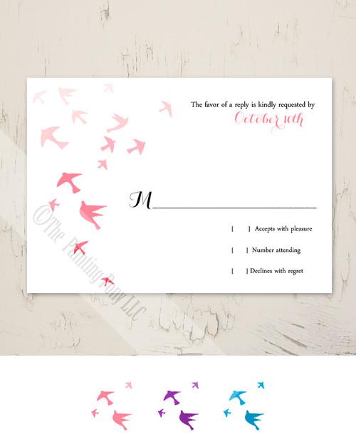 Flying Doves Wedding RSVP card (10 pk)