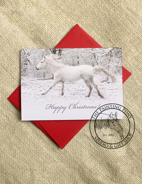 Galloping White Horse Christmas Cards (10 pk)
