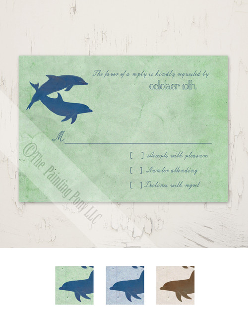 Two Dolphins Wedding RSVP card (10 pk)