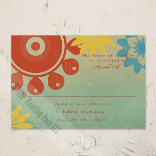 Retro Floral Wedding RSVP card (10 pk)