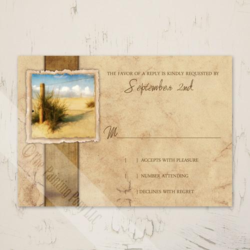 Rustic Beach Sand Vintage Wedding RSVP card (10 pk)