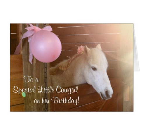 White Pony Girl's Pink Birthday Equestrian Greeting Card