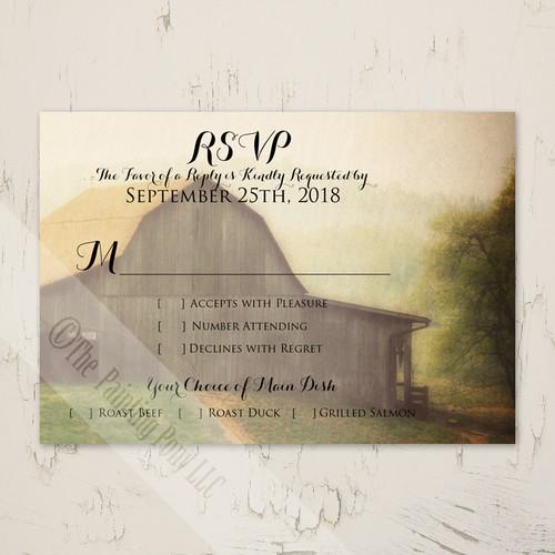 Country Horse Barn Wedding RSVP card (10 pk)