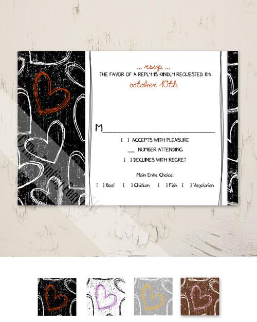 Fun Grunge Hearts Wedding RSVP card (10 pk)