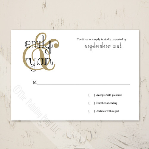 Thin Retro Border Wedding RSVP card (10 pk)