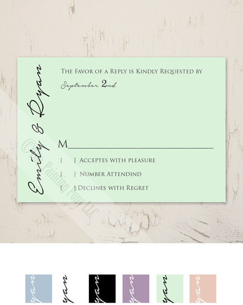 Simple and Elegant Mint Wedding RSVP card (10 pk)