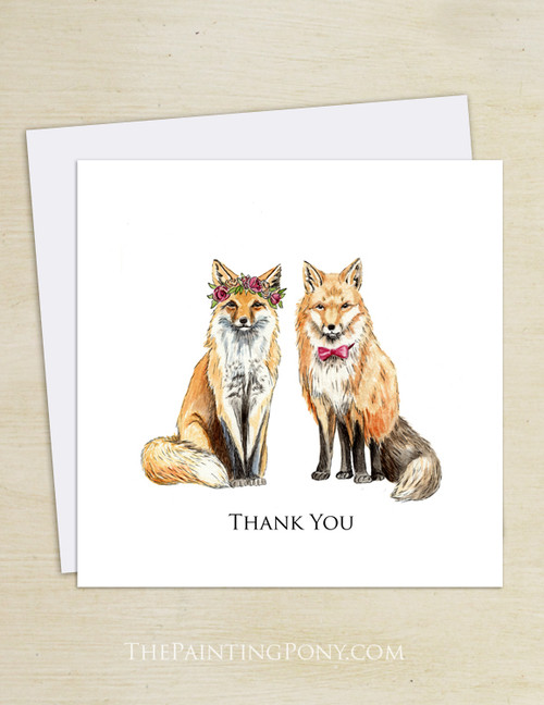 Bohemian Foxes Wedding Thank You Cards (10 pk)