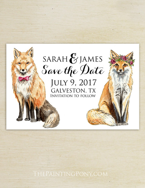 Bohemian Foxes Watercolor Wedding Save The Date Postcards (25 pk)