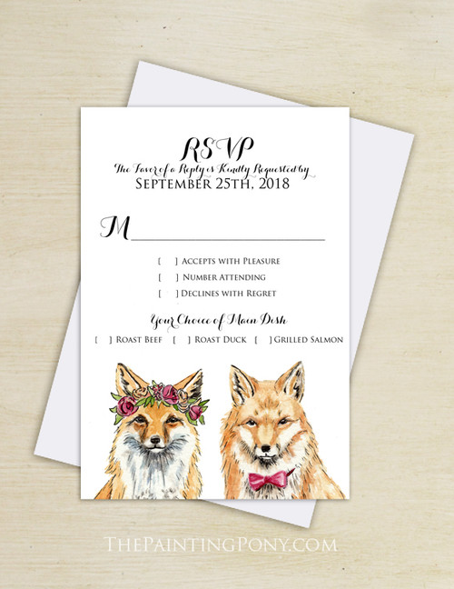 Bohemian Foxes Wedding RSVP card (10 pk)