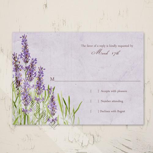 Vintage Lavender Floral Garden Wedding RSVP card (10 pk)