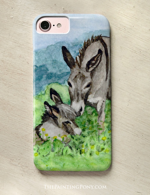 Baby and mother miniature donkey phone case.