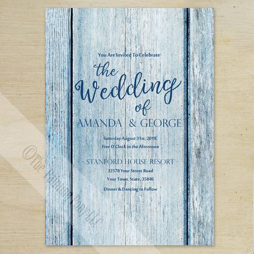 Blue Country Wood Grain Wedding Invitation (10 pk)
