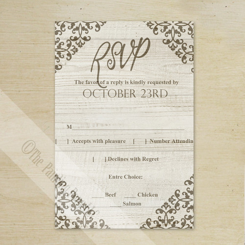 Damask Country Wood Grain Wedding RSVP card (10 pk)