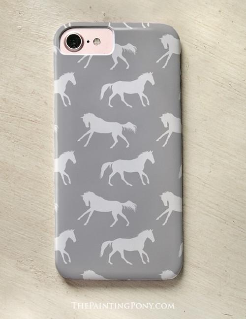 Classic Gray Horse Pattern Phone Case