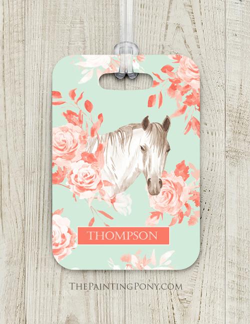 Floral Horse Head Custom Luggage Tag