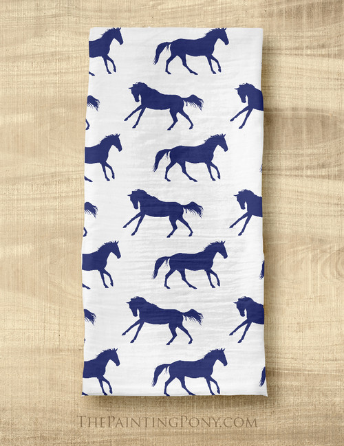 Navy Blue Galloping Horse Pattern Equestrian Tea Towel